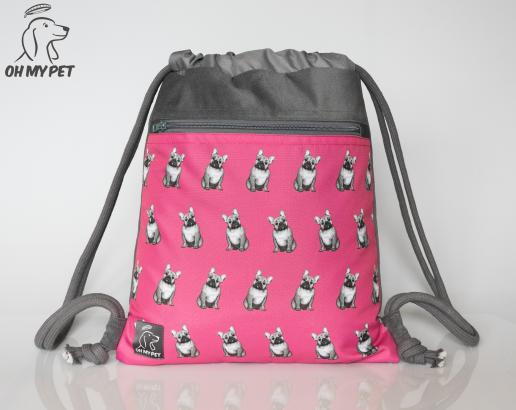 Plecak worek: buldog francuski na różowym tle