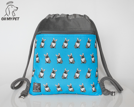 Plecak worek: buldog francuski niebieski