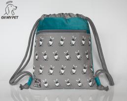Plecak worek: buldog francuski (różne kolory) z niebieskim wykończeniem