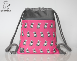 Plecak worek: buldog francuski różowy
