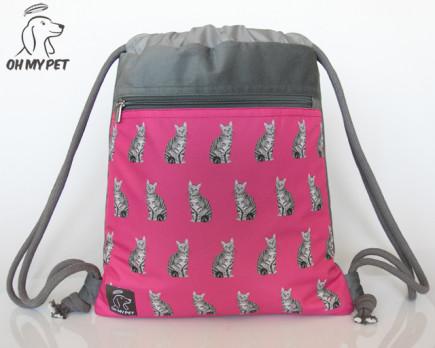 Plecak worek: kot dachowiec na różowym tle