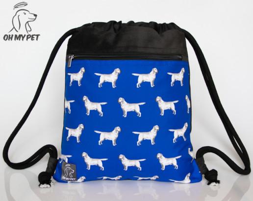 Plecak worek: labrador retriever na chabrowym tle
