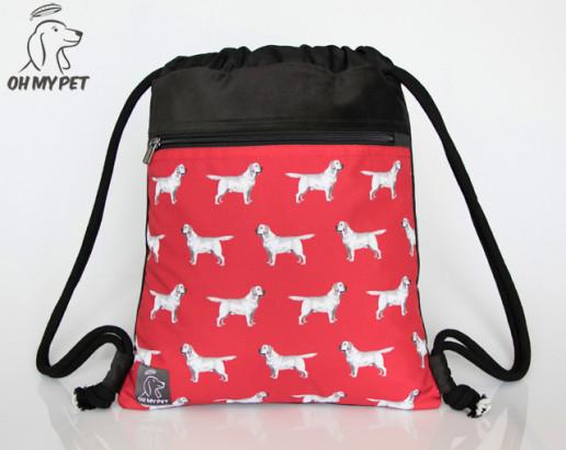 Plecak worek: labrador retriever na czerwonym tle