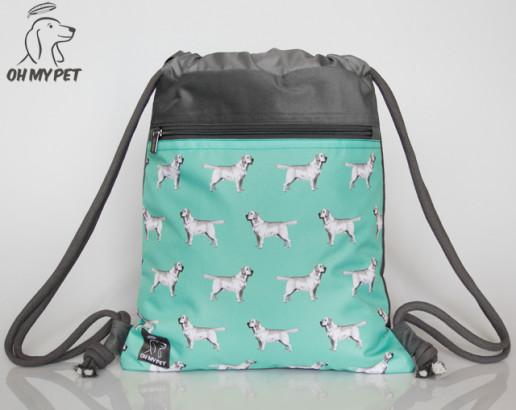 Plecak worek: labrador retriever na miętowym tle